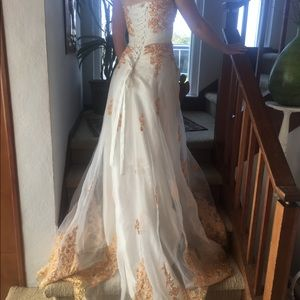 White and Gold Wedding Dress